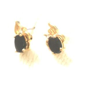 Onyx gold tone fine jewelry look earrings